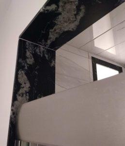 Primary Shower Granite Trim Close-up